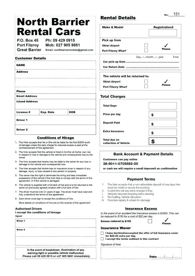 Private Car Rental Contract Template