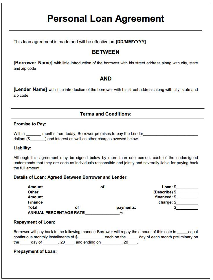 Private Loan Agreement Template