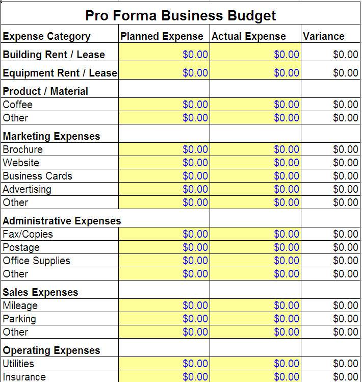 Pro Forma Business Plan Template