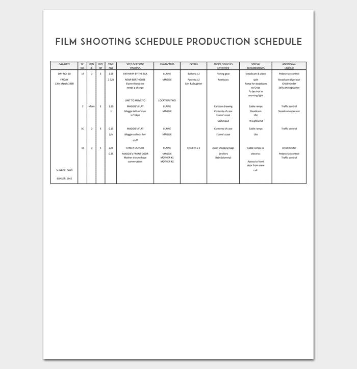 Production Schedule Template Pdf