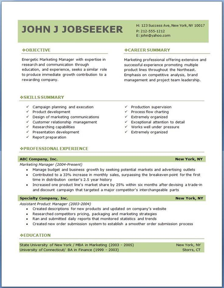 Professional Resume Template Word Download Free