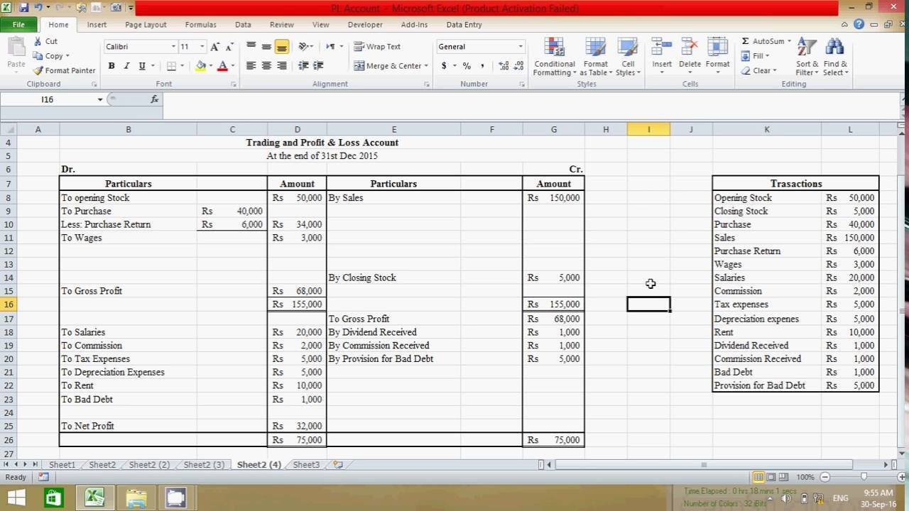 Profit And Loss Balance Sheet Excel Template