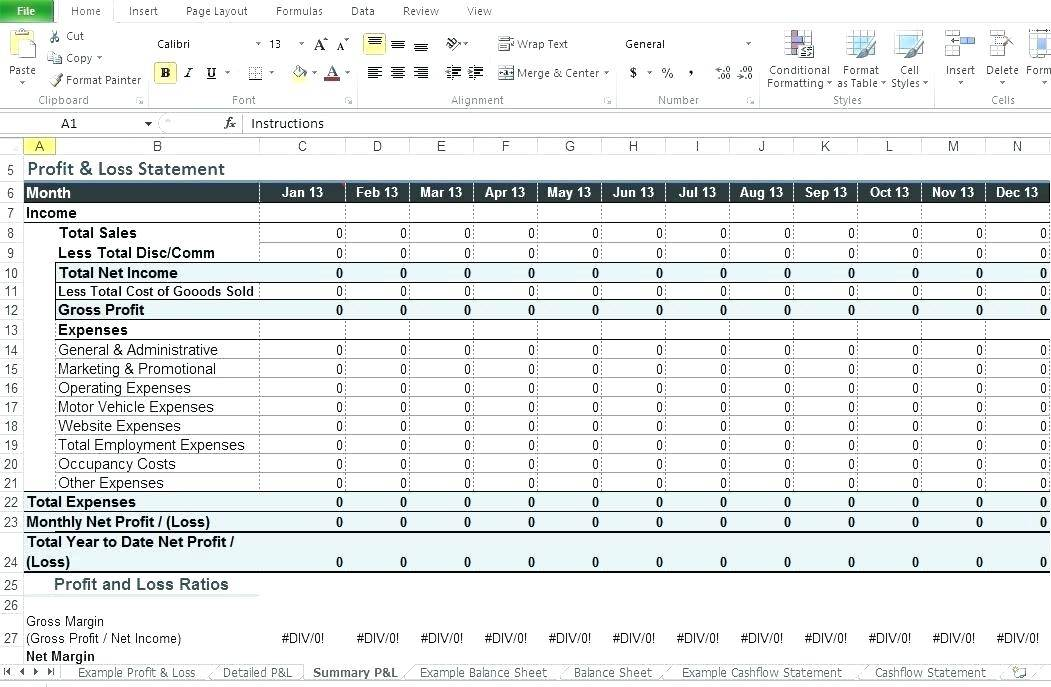 Profit And Loss Excel Template For Restaurant