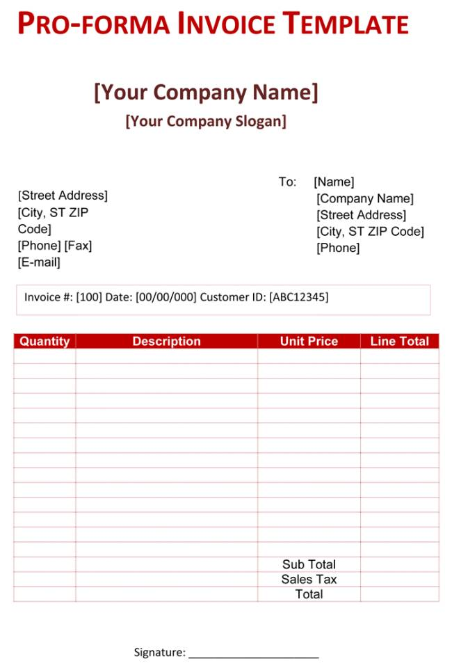 Proforma Invoice Template Online