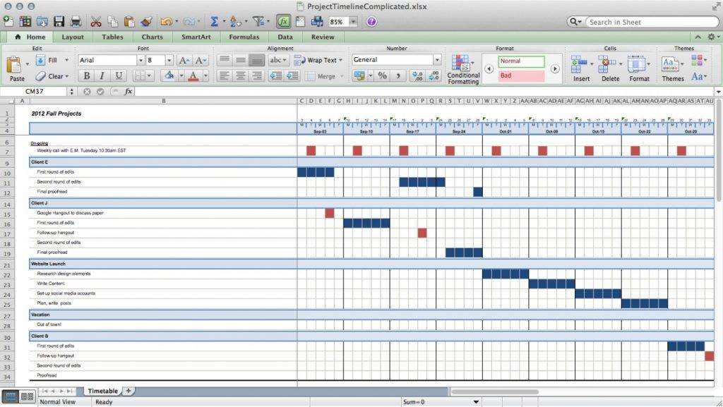 Project Schedule Template Excel Xls