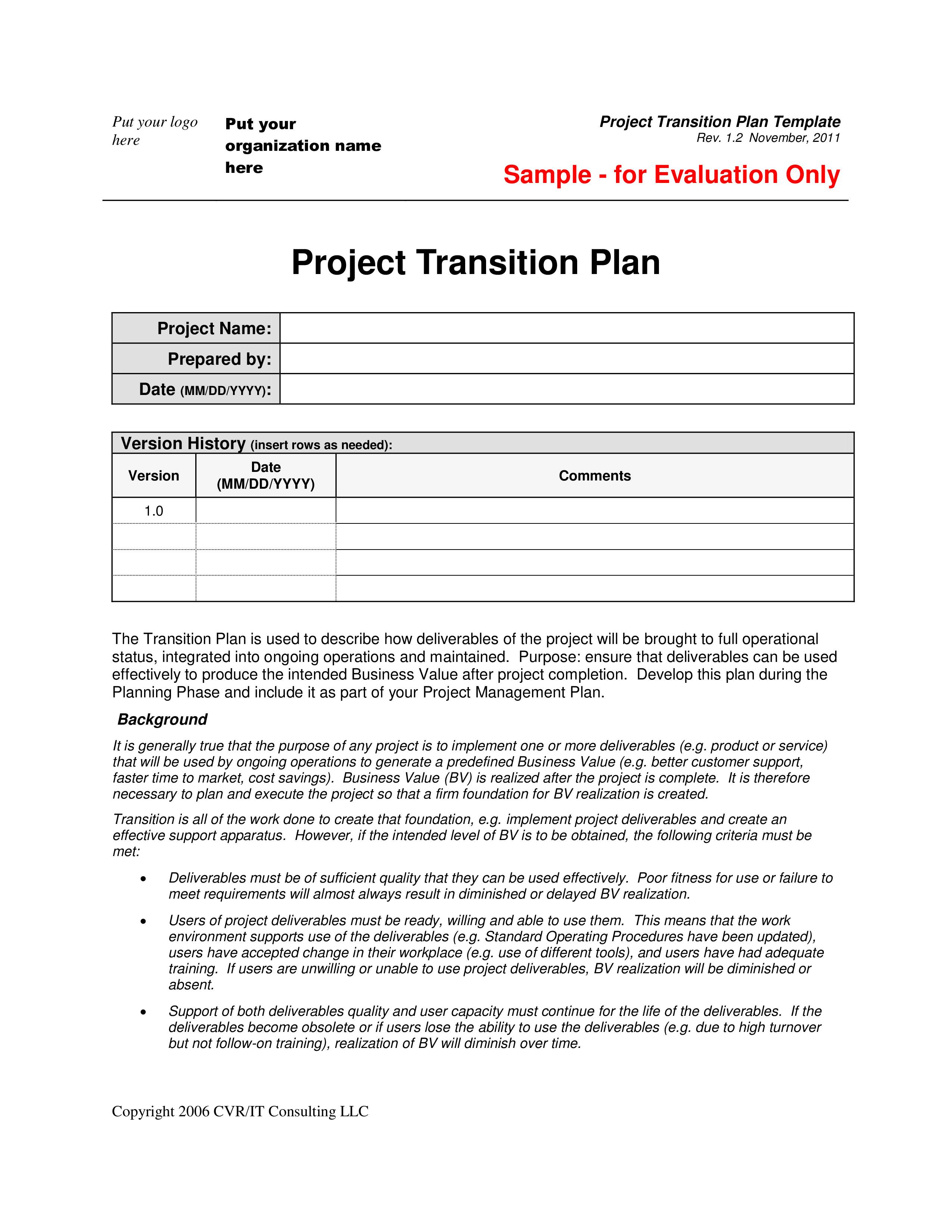 Project Transition Plan Template Free