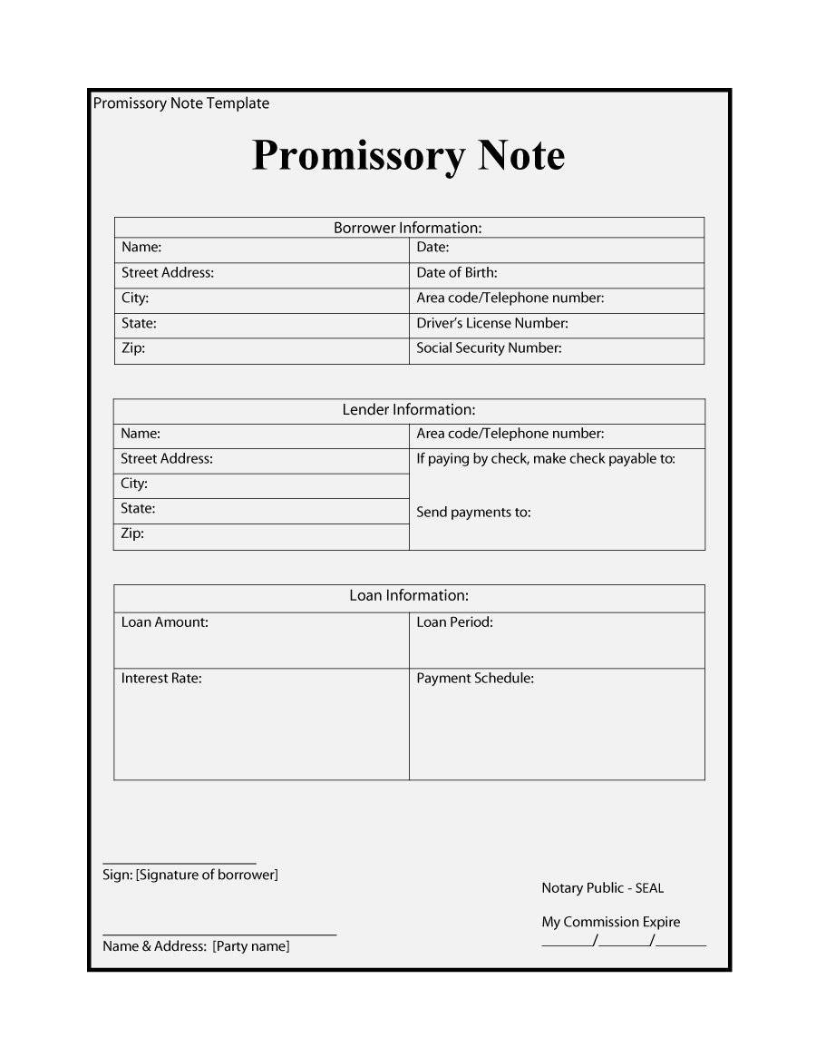 Promissory Note Microsoft Word Template