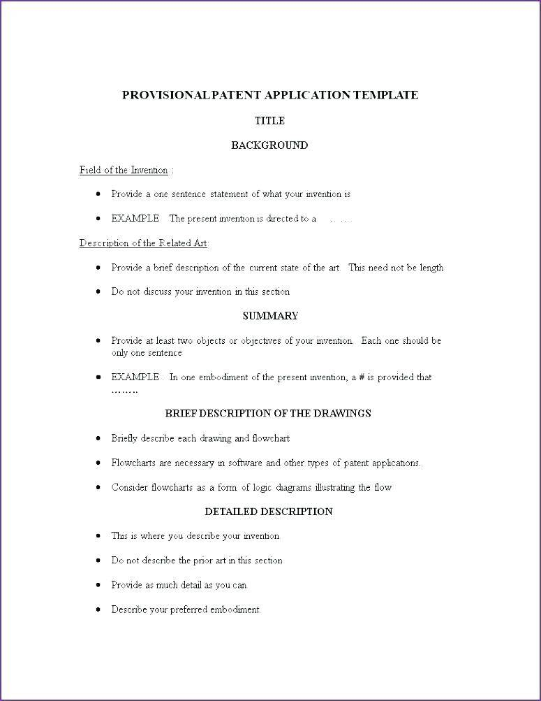 Provisional Patent Template Download