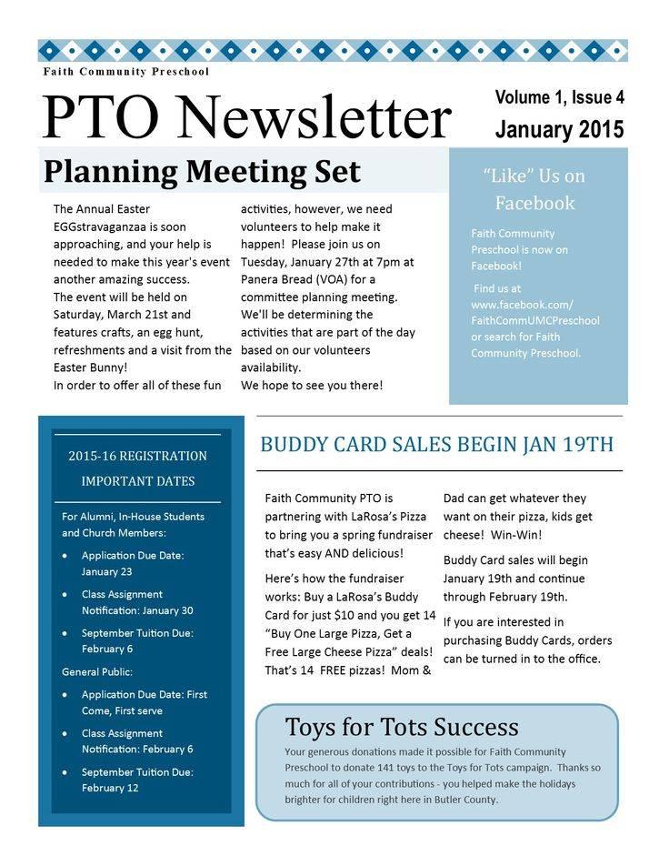 Pta Newsletter Templates