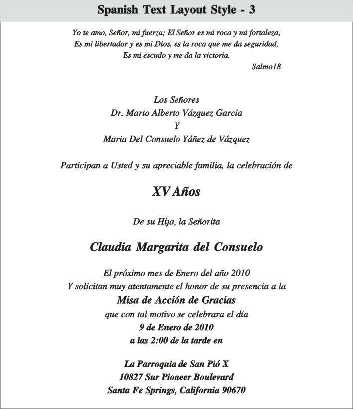 Quinceanera Invitation Samples In English