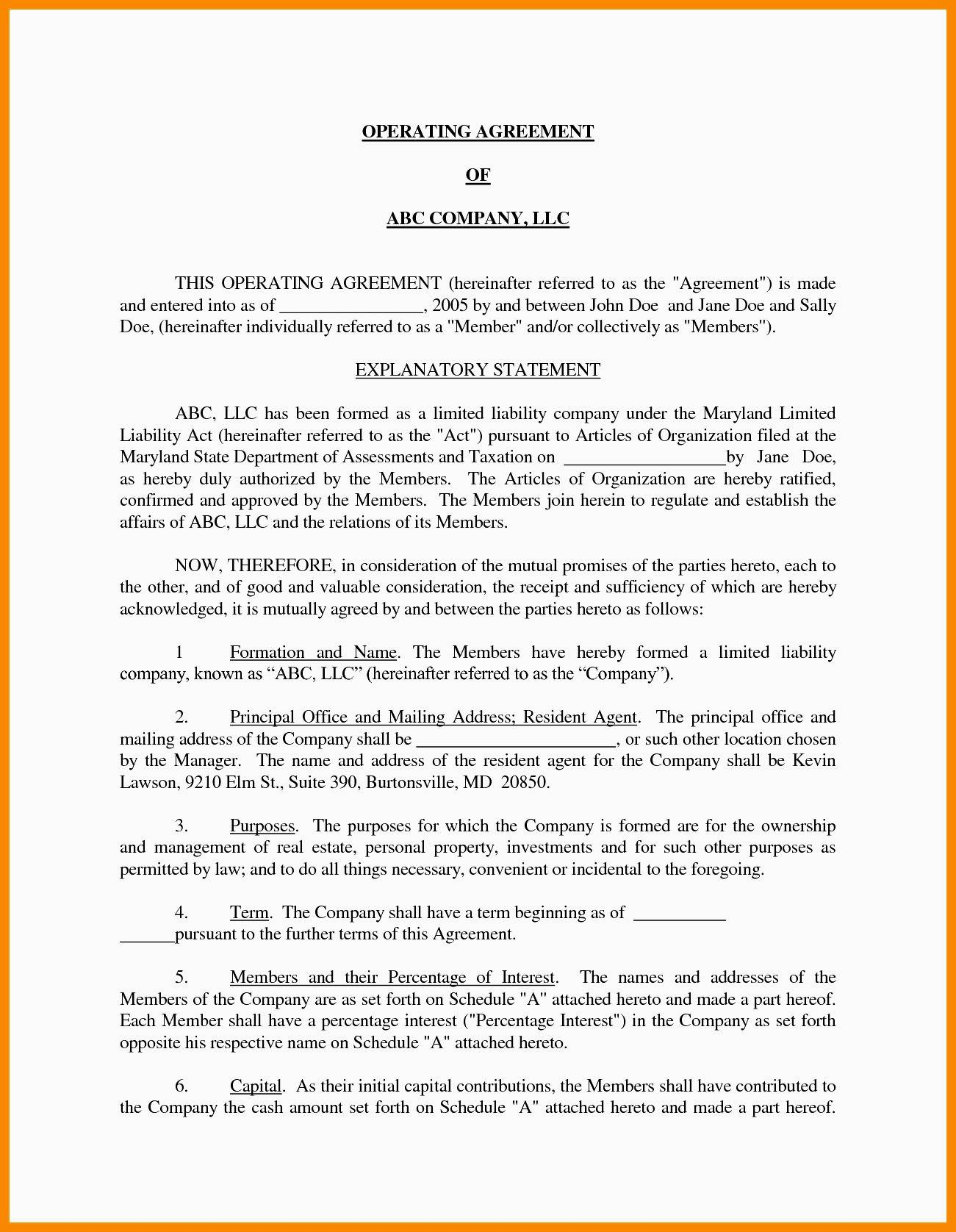Real Estate Operating Agreement Template