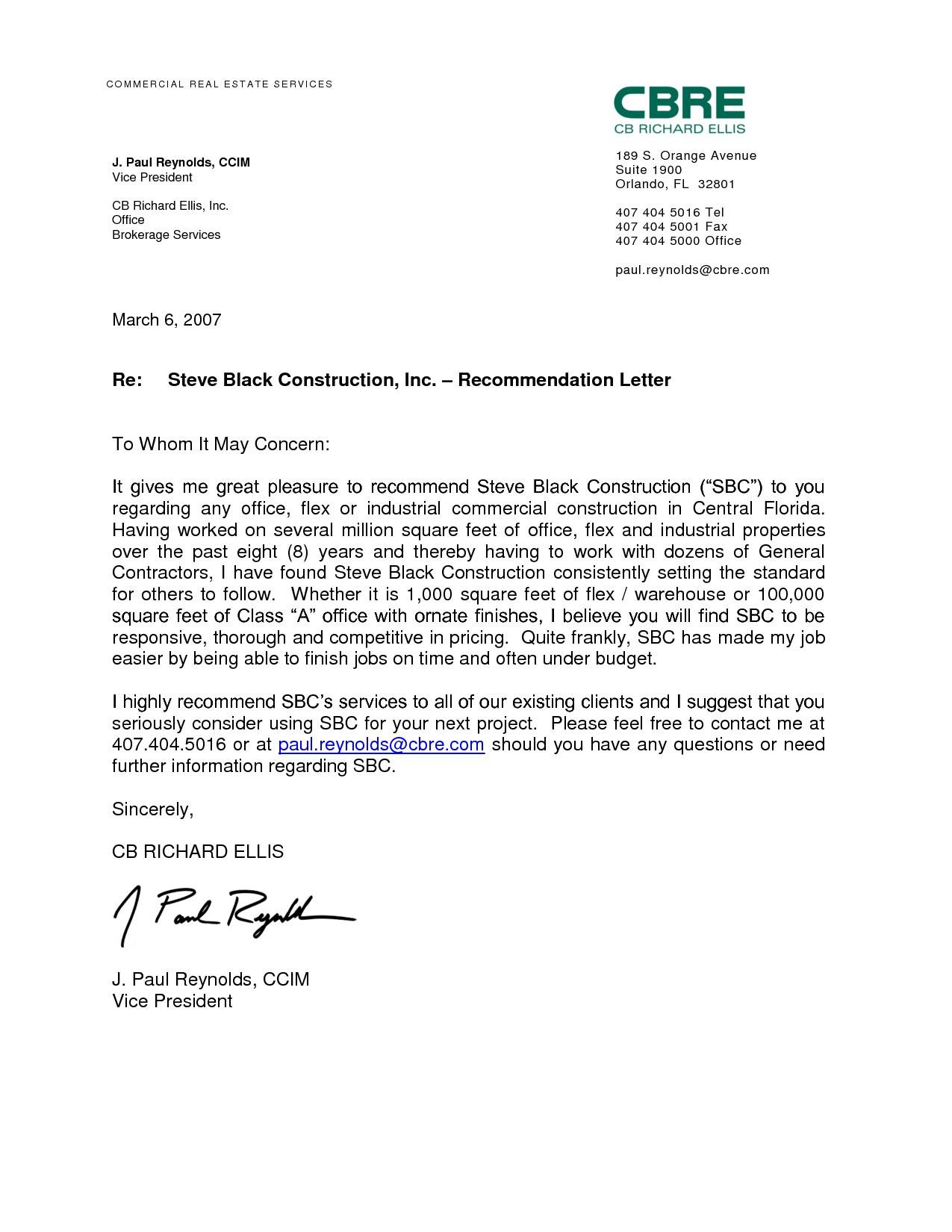 Real Estate Recommendation Letter Template