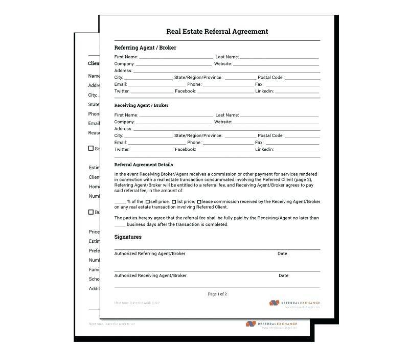 Real Estate Referral Fee Agreement Template