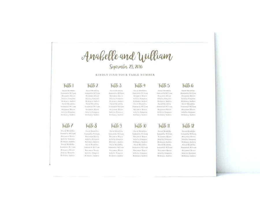 Reception Table Seating Chart Template
