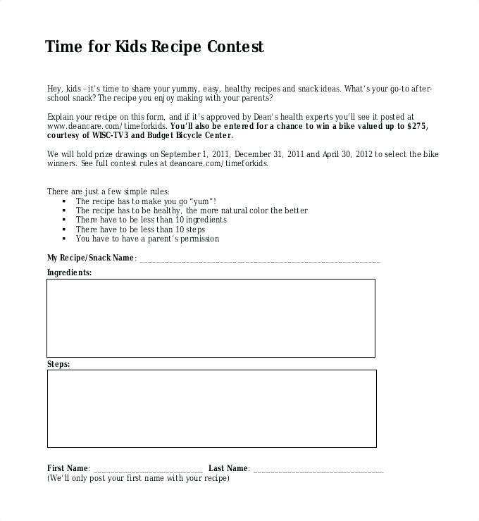 Recipe Template For Pages App