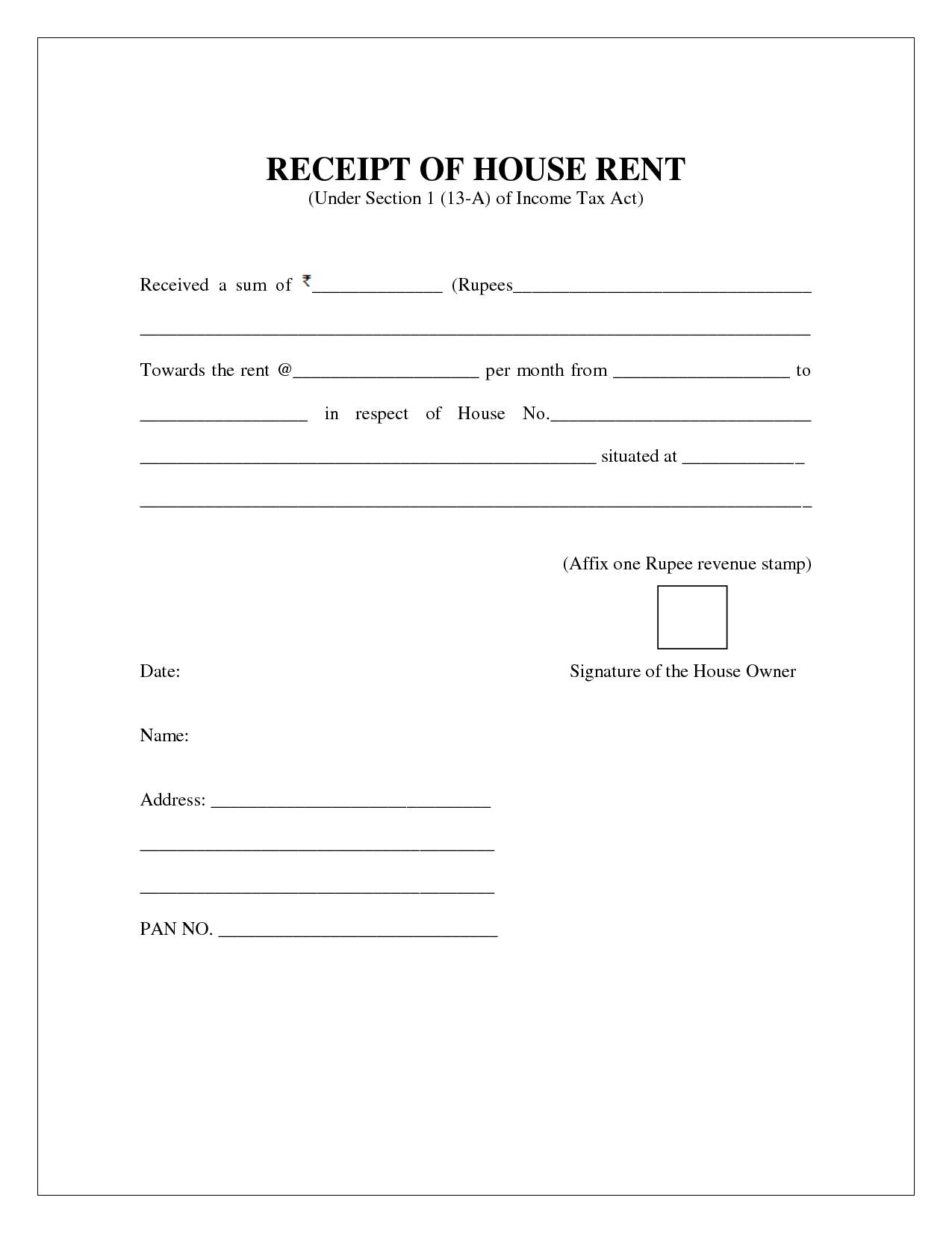 Rent Receipt Form