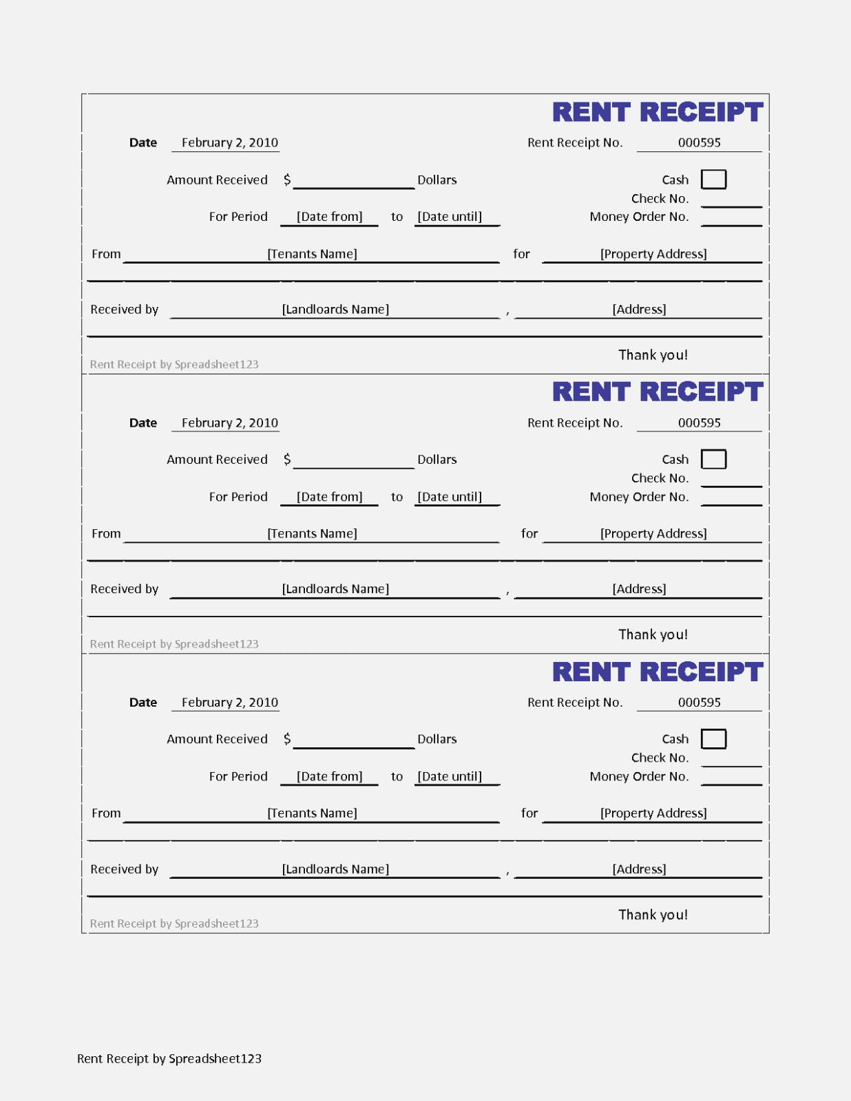 Rent Receipt Format In Excel