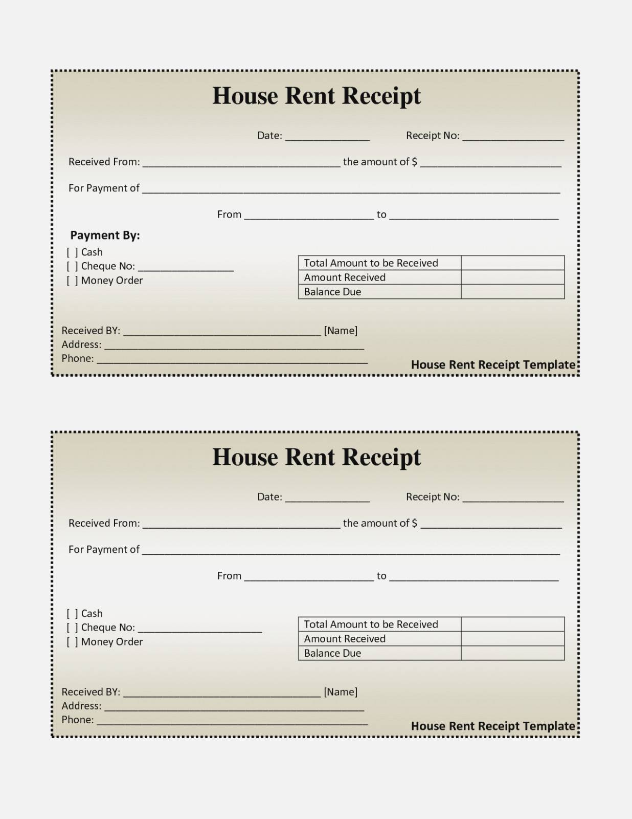 Rent Receipt Format Template India
