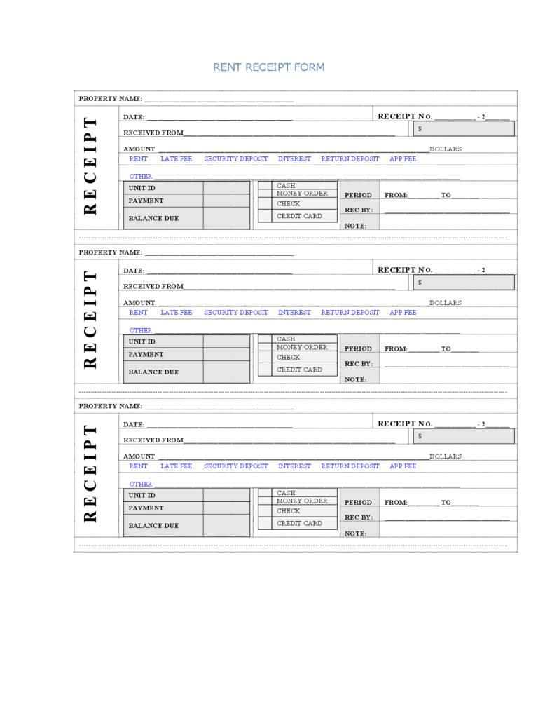 Rent Receipt Template Excel Format