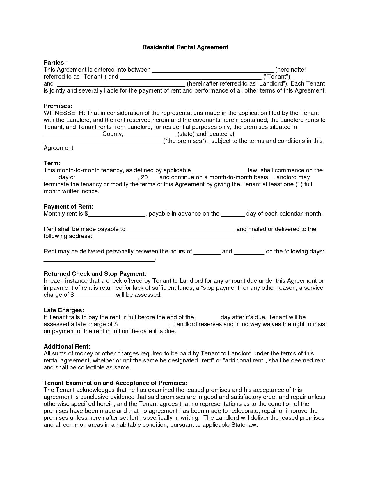 Rental Contract Agreement Forms