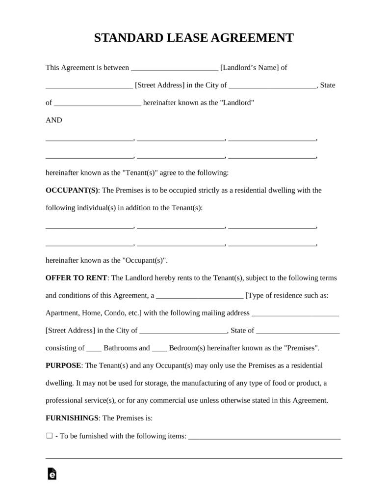 Rental Lease Agreement Format In Word