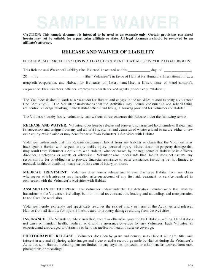 Rental Liability Waiver Template