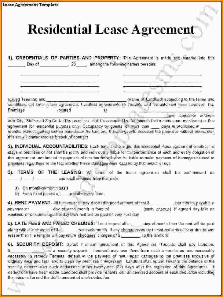Renters Lease Template Free
