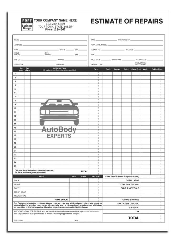 Repair Order Form Template