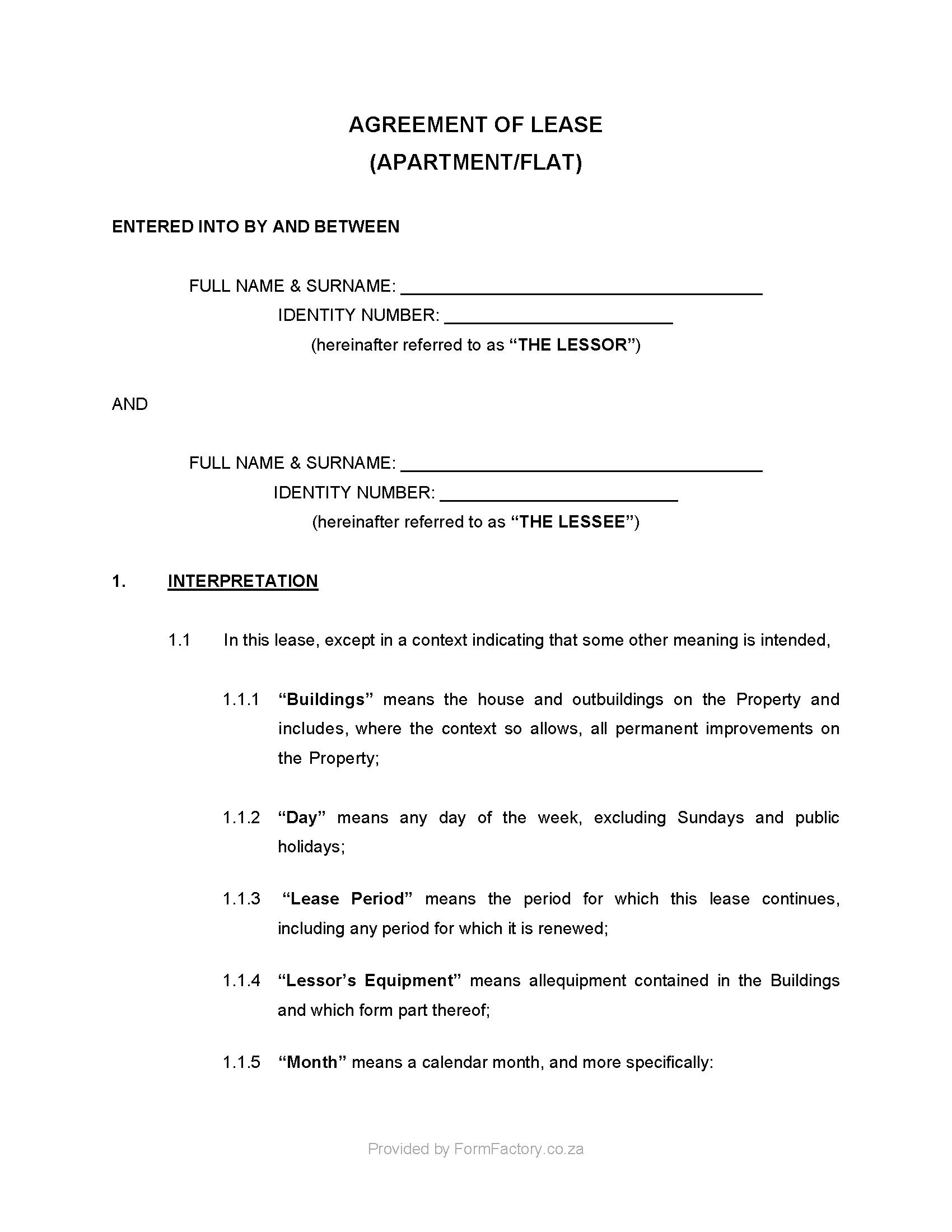 Residential Lease Agreement Template Zimbabwe
