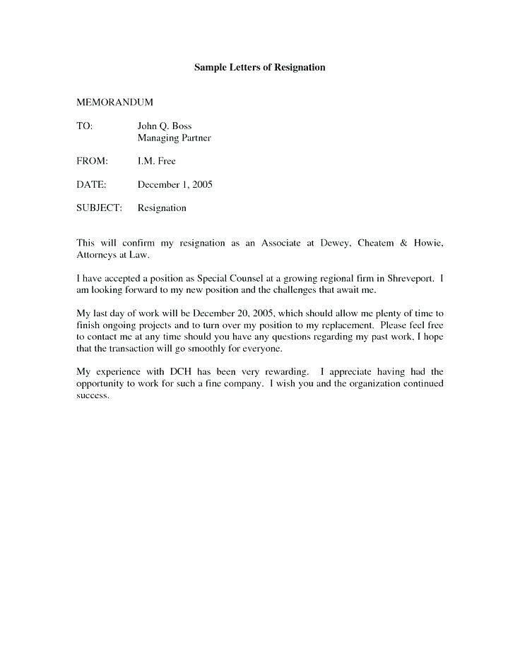 Resignation Letter Template Ireland