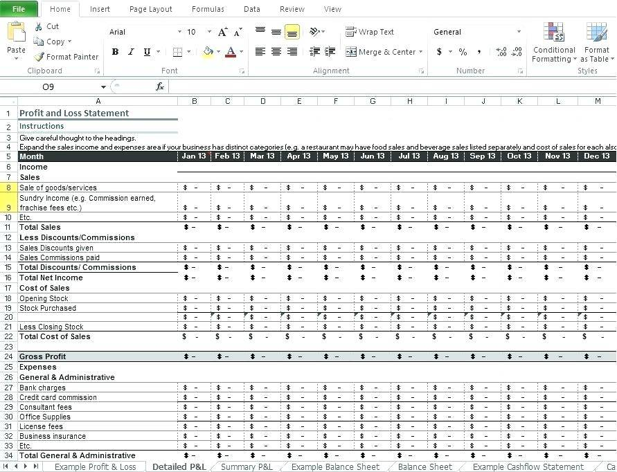 Restaurant Profit And Loss Statement Excel Template