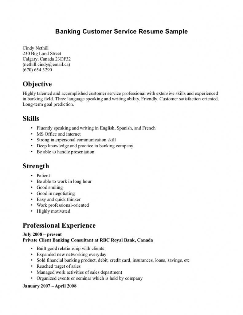 Resume Template For Customer Service Associate