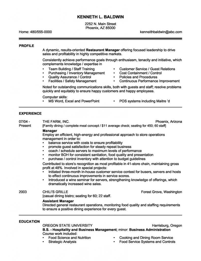 Resume Template For Restaurant Manager