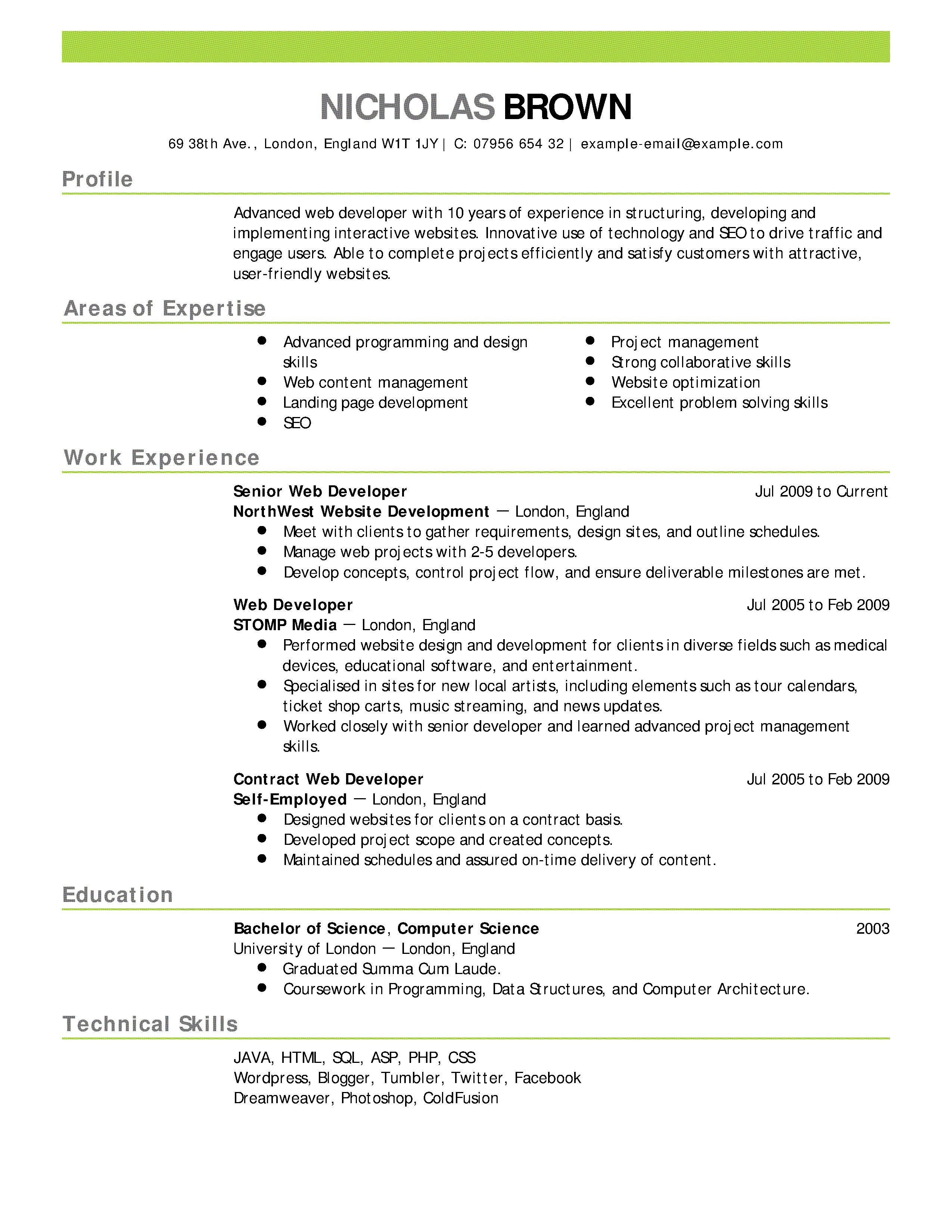 Resume Template For Server Position
