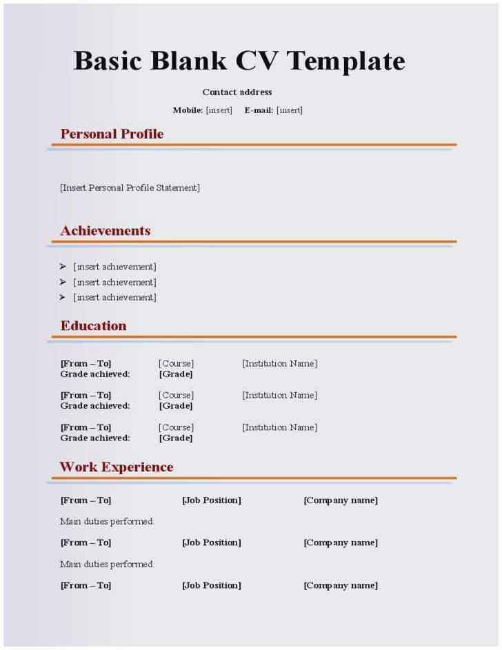 Resume Templates Blank Free Printable