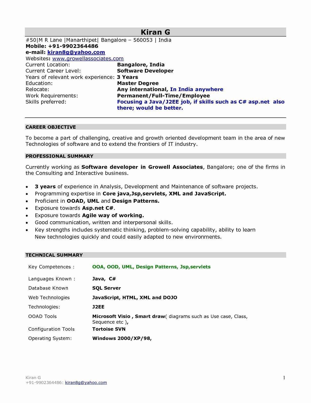 Resume Templates For Freshers Engineers Free Download