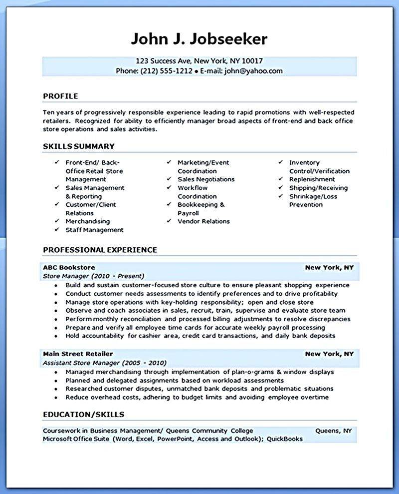 Retail Operations Manager Resume Templates