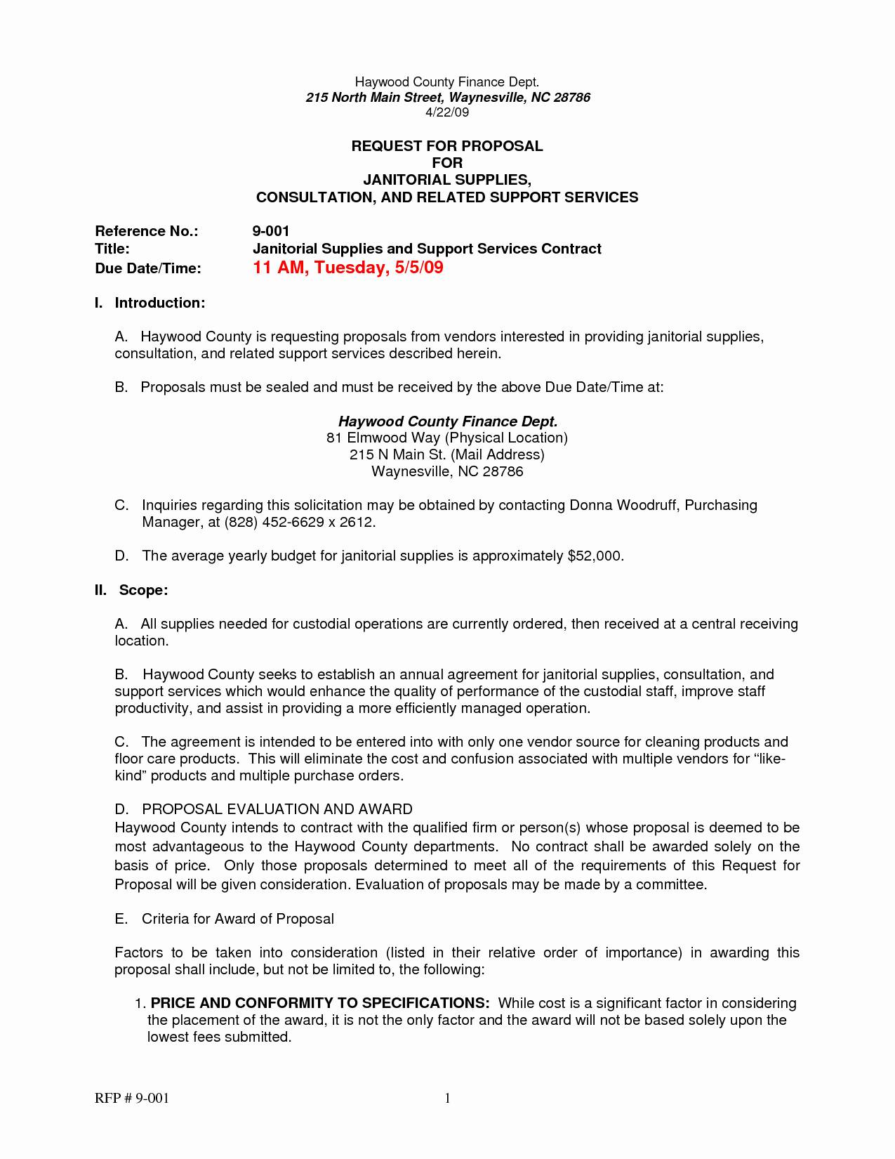 Rfp Request For Proposal Template