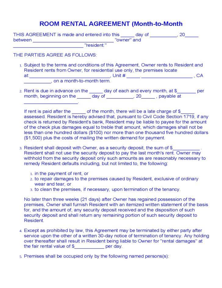 Room Rental Agreement Florida Template Templates Mtuwotm5