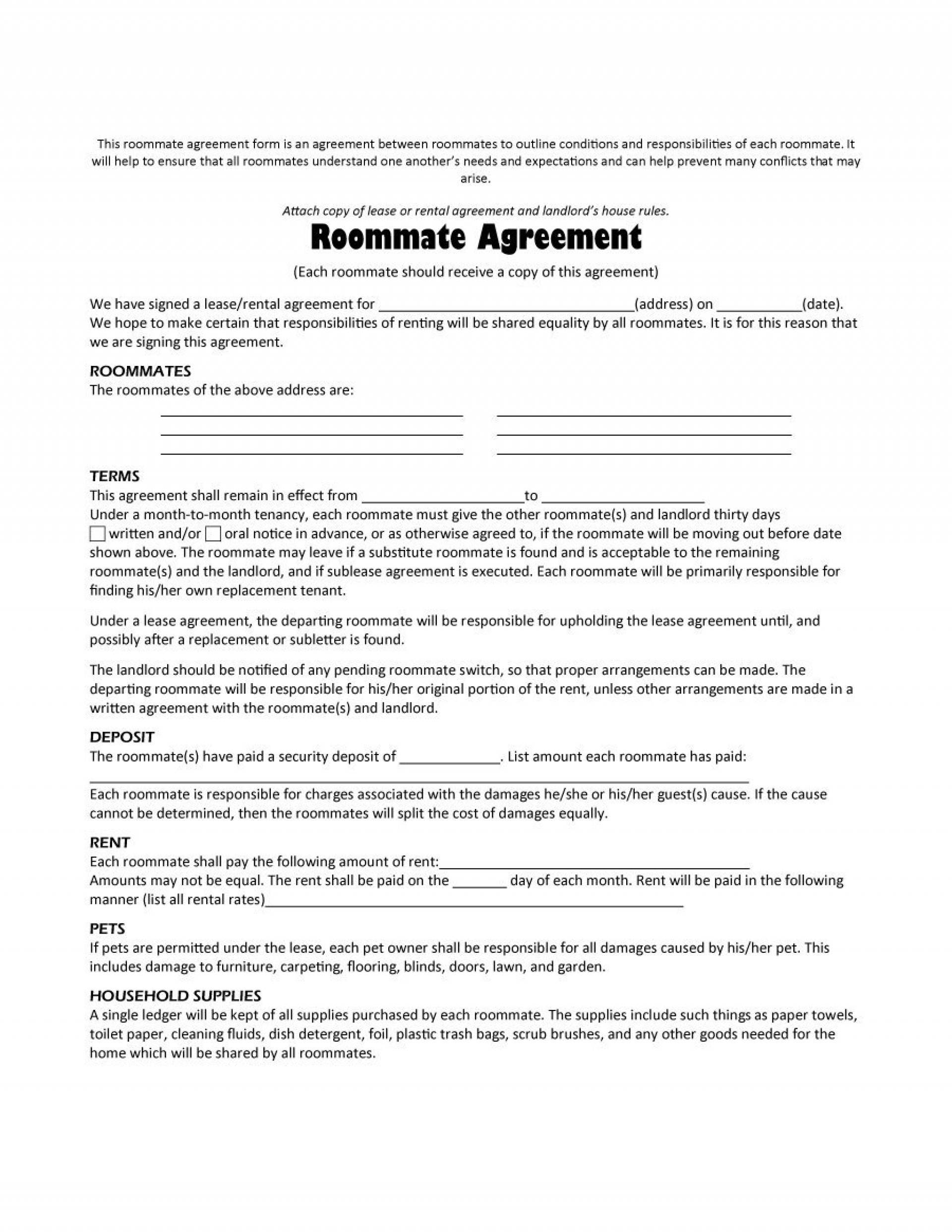Roommate Lease Agreement Template Free