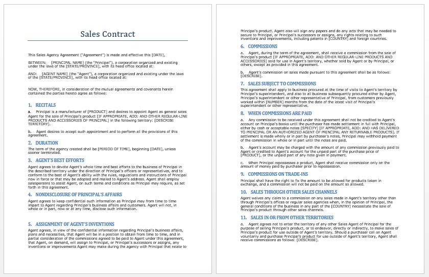 Sales Contract Sample Word