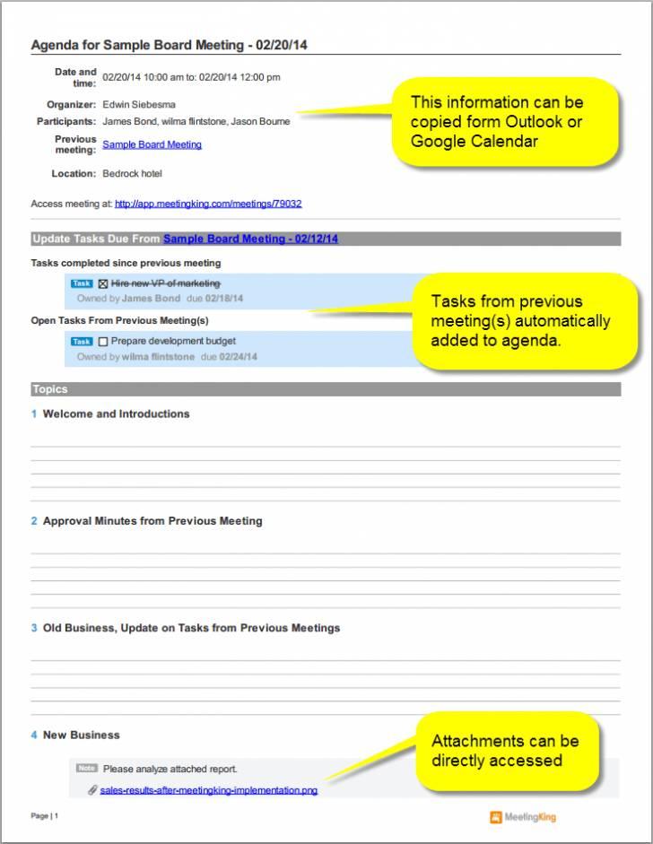 Sample Board Meeting Agenda Format