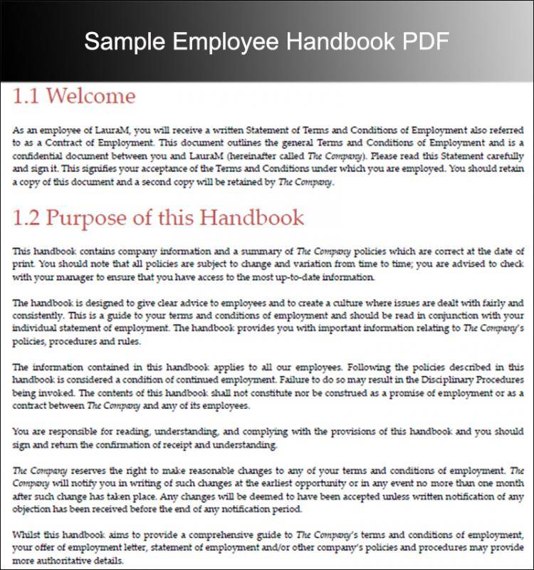 Sample Employee Handbook 2018