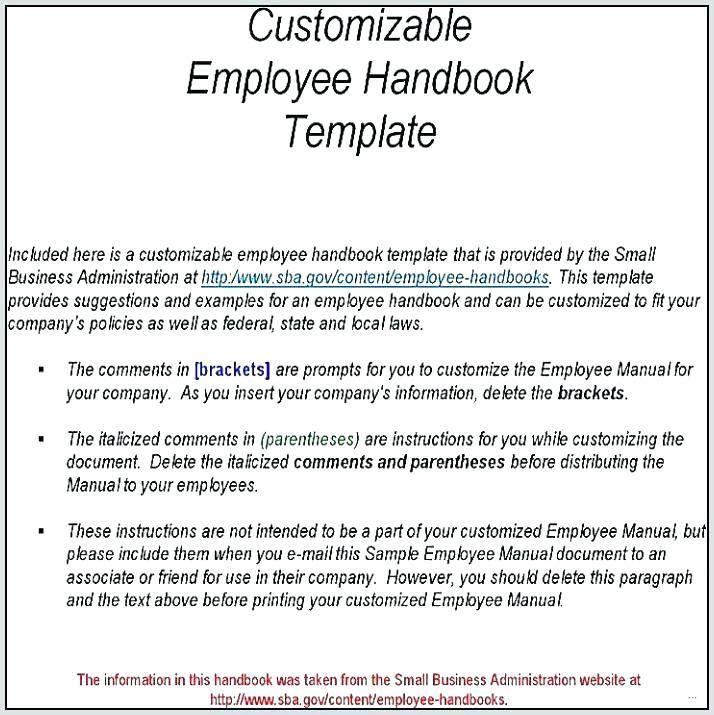 Sample Employee Manual Templates