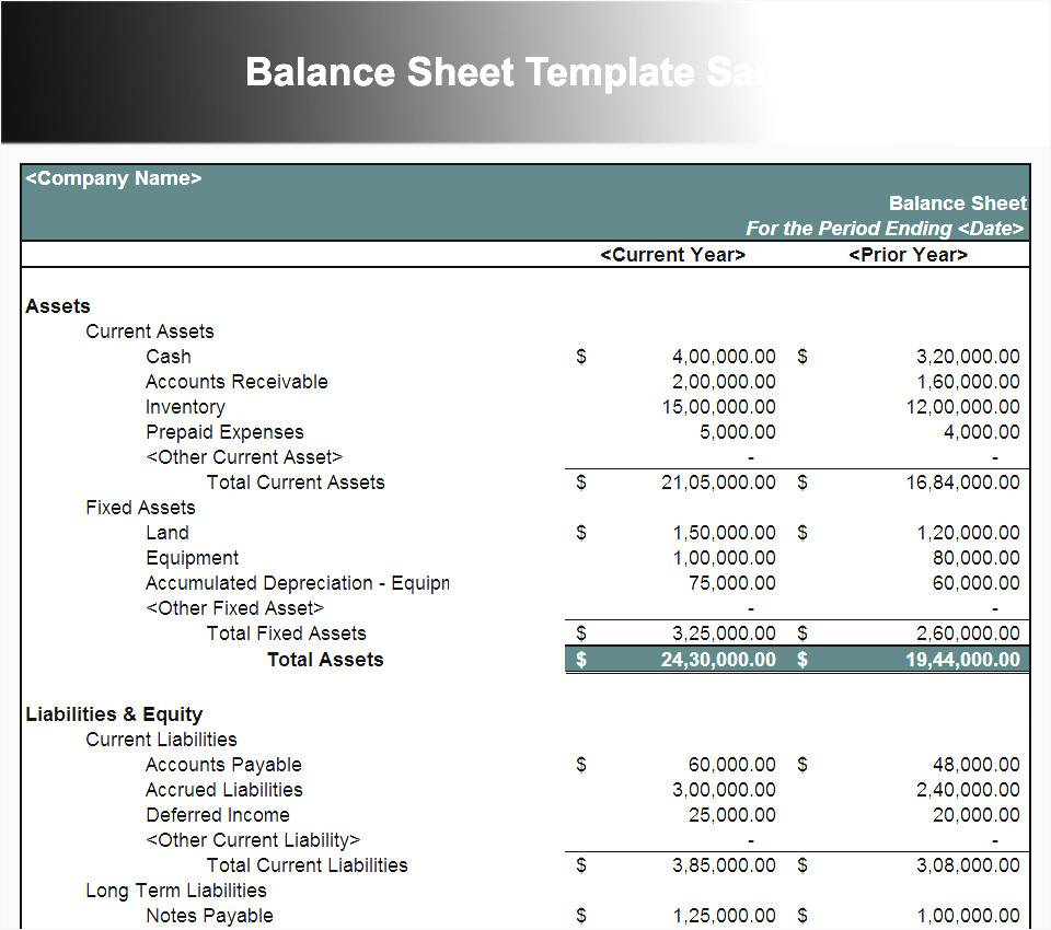Sample Excel Balance Sheet Template
