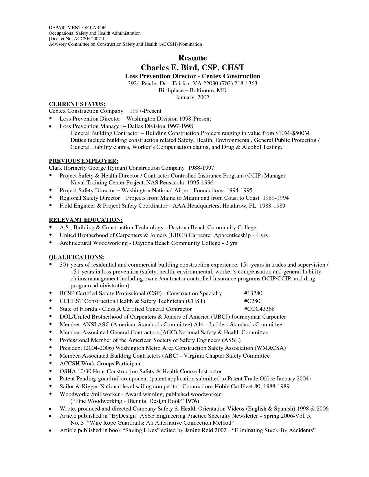Sample Laborer Resume Templates