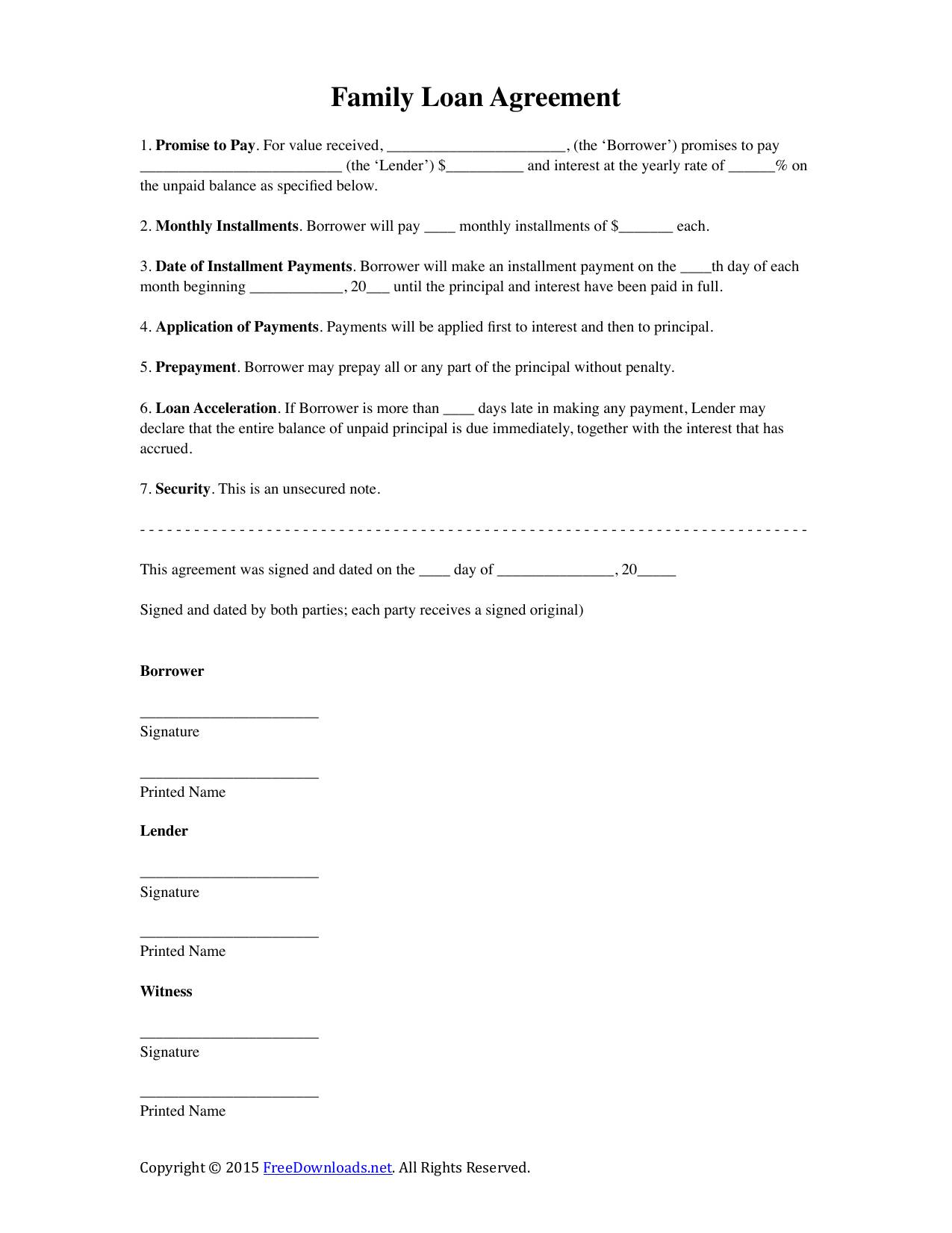 Sample Loan Agreement Template Word