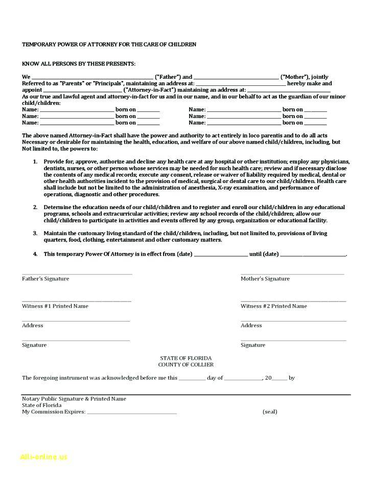 Sample Of Power Of Attorney For Minor Child