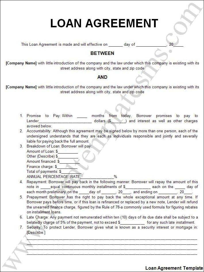 Sample Personal Loan Agreement Template