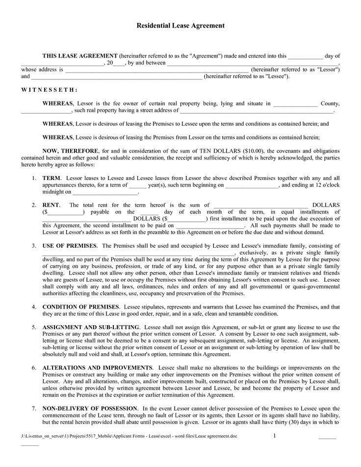 Sample Residential Lease Agreement Louisiana
